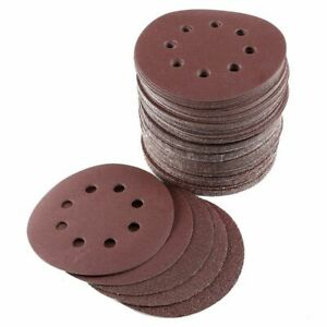 100x-Disques-poncage-125mm-Papier-Abrasif-emeri-ponceuse-papier-verre-grain-G4N4