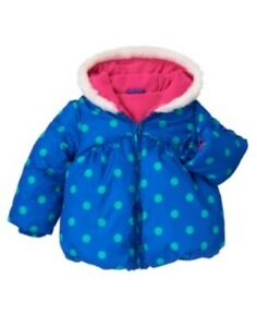 GYMBOREE-COLOR-HAPPY-BLUE-w-GREEN-DOTS-HOODED-PUFFER-JACKET-6-12-24-2-3-4-5-NWT