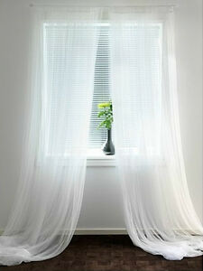 Image Is Loading IKEA Lace Curtains 2 Panels White Mesh Net