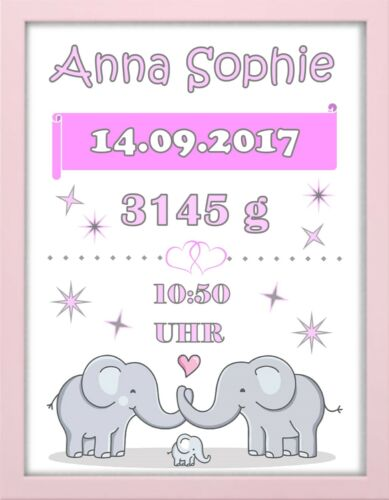 """Bilderrahmen personalisiert Geburt Baby /""""Elefanten/"""" rosa Taufe Geschenk"""
