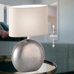 Schreib Tisch Lampe Textil grau Arbeits-Zimmer Beistell Keramik Nacht Leuchte