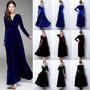 6c5cbf4f253 Womens Elegant V Neck Long Sleeve Velvet Party Evening Long Maxi ...