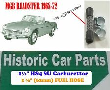 """MGB Roadster 1968-72 - 2½ HOSE & CLIPS - 1½"""" SU HS Carb Fuel Pipe to Fuel Filter"""