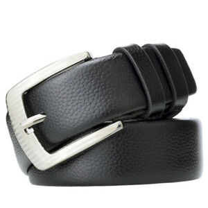 New-Men-039-s-Casual-Fashion-Pin-Buckle-Leather-Belt-Lychee-Waistband-FT