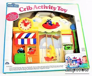 SESAME-STREET-1990s-Crib-Cot-Activity-Toy-Cookie-Monster-Oscar-Sounds-Action