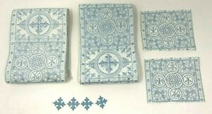 Cruz-Emblems-Banda-Vestment-Plata-Azul-Encendido-Blanco-8-PC-Lote-Paquete