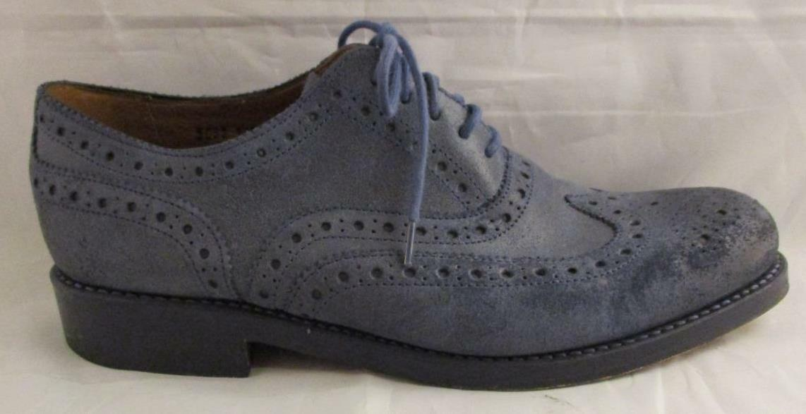 EUC Grenson Stanley  Men's Blue Suede Wing Tip Shoes Oxfords 8 G US 8.5
