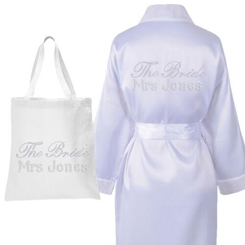 Set 2 Personalised Crystal THE BRIDE ROBE /& TOTE BAG Luxury Wedding Bathrobe