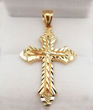 Mens 10k Yellow Gold Cross Pendant Diamond Cut Gold Crucifix Charm 3.1 g