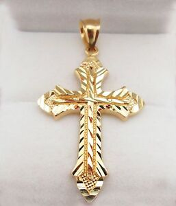 Mens 10k yellow gold cross pendant diamond cut gold crucifix charm image is loading mens 10k yellow gold cross pendant diamond cut aloadofball Image collections