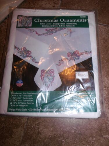 """Tobin Stamped Tablecloth CHRISTMAS ORNAMENTS 58/"""" x 90/""""  Embroidery"""