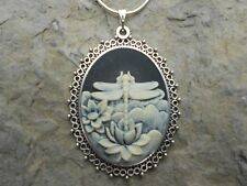"""DRAGONFLY CAMEO NECKLACE 2"""" LONG (black) 925 PLATED CHAIN- QUALITY"""