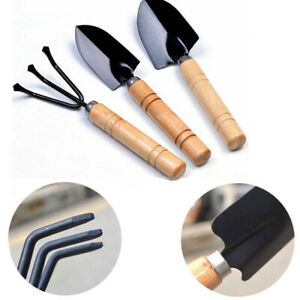 Details about 3pcs Gardening Tools Set for Mini Plant With Wooden Handle  Tool Rake Shovel HQ