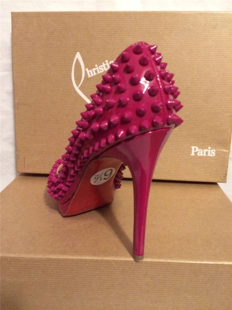 Christian Louboutin YOLANDA SPIKES Patent Open Open Open Heels chaussures Pumps Grenadine  1395 a531f4