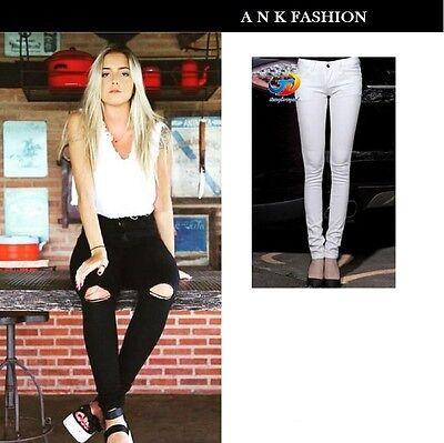 Sinnvoll Women Ripped Knee Cut/plain Jeans Faded Slim Fit Ladies Skinny Denim Sizes 6to20