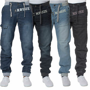 Kruze-Mens-Designer-Cuffed-Denim-Jeans-Casual-Jogger-All-Waist-Big-Tall-Sizes