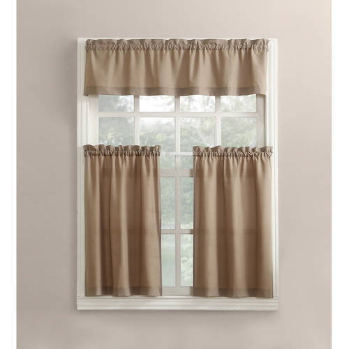 Modern Classic Taupe 3 Piece Kitchen Curtains Set Valance & Tiers Cafe  Curtains
