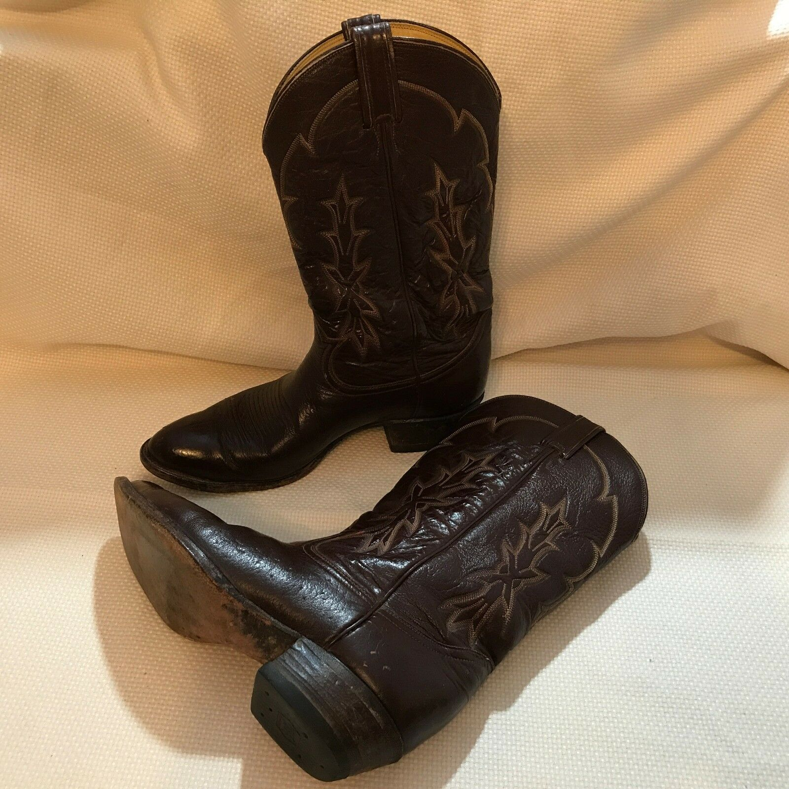 Tony Lama Vintage Men's Chocolate Marroneee Tooled Leather Cowboy stivali, Dimensione 9 12D