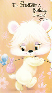 Vintage Cute Bear 1970039s Happy Birthday Sister Greeting Card amp Envelope - <span itemprop=availableAtOrFrom>Luton, Bedfordshire, United Kingdom</span> - Vintage Cute Bear 1970039s Happy Birthday Sister Greeting Card amp Envelope - Luton, Bedfordshire, United Kingdom