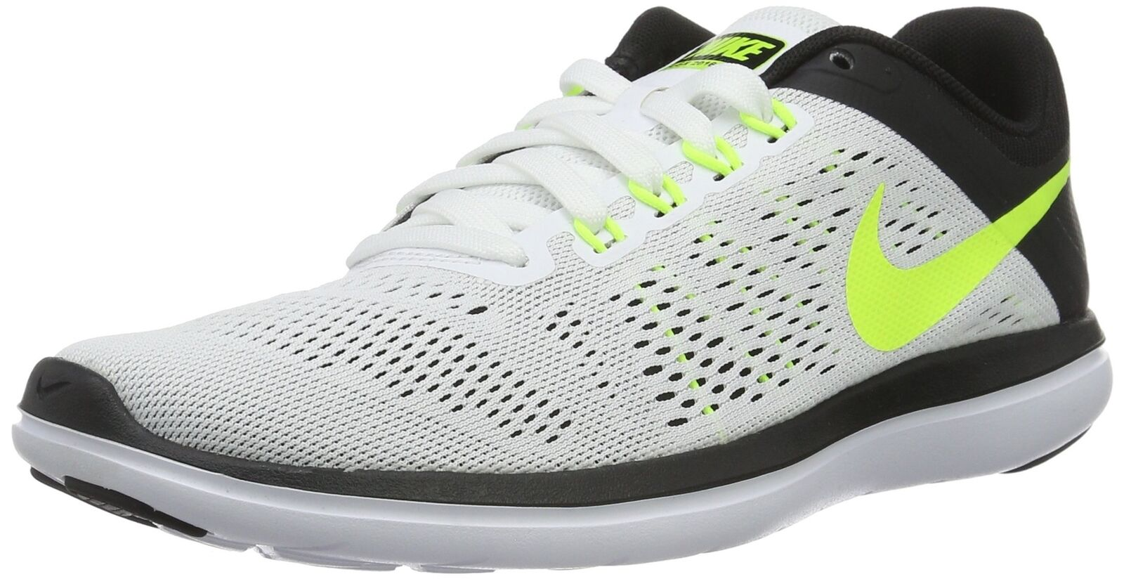 New shoes for men and women, limited time discount Men's Nike Flex 2018 RN Running Shoe White/Volt/Black Comfortable