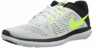 3849905b1122 Men s Nike Flex 2016 RN Running Shoe White Volt Black Size 8.5 M US ...