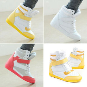 Womens-Velcro-High-Top-Wedge-Sneakers-Lace-Up-Girls-Casual-Shoes-Skateboard-Boot