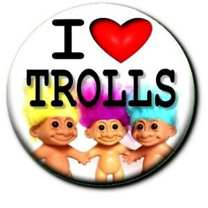I LOVE MY TROLL/ 70'S/80'S RETRO TOY DOLL BUTTON BADGE