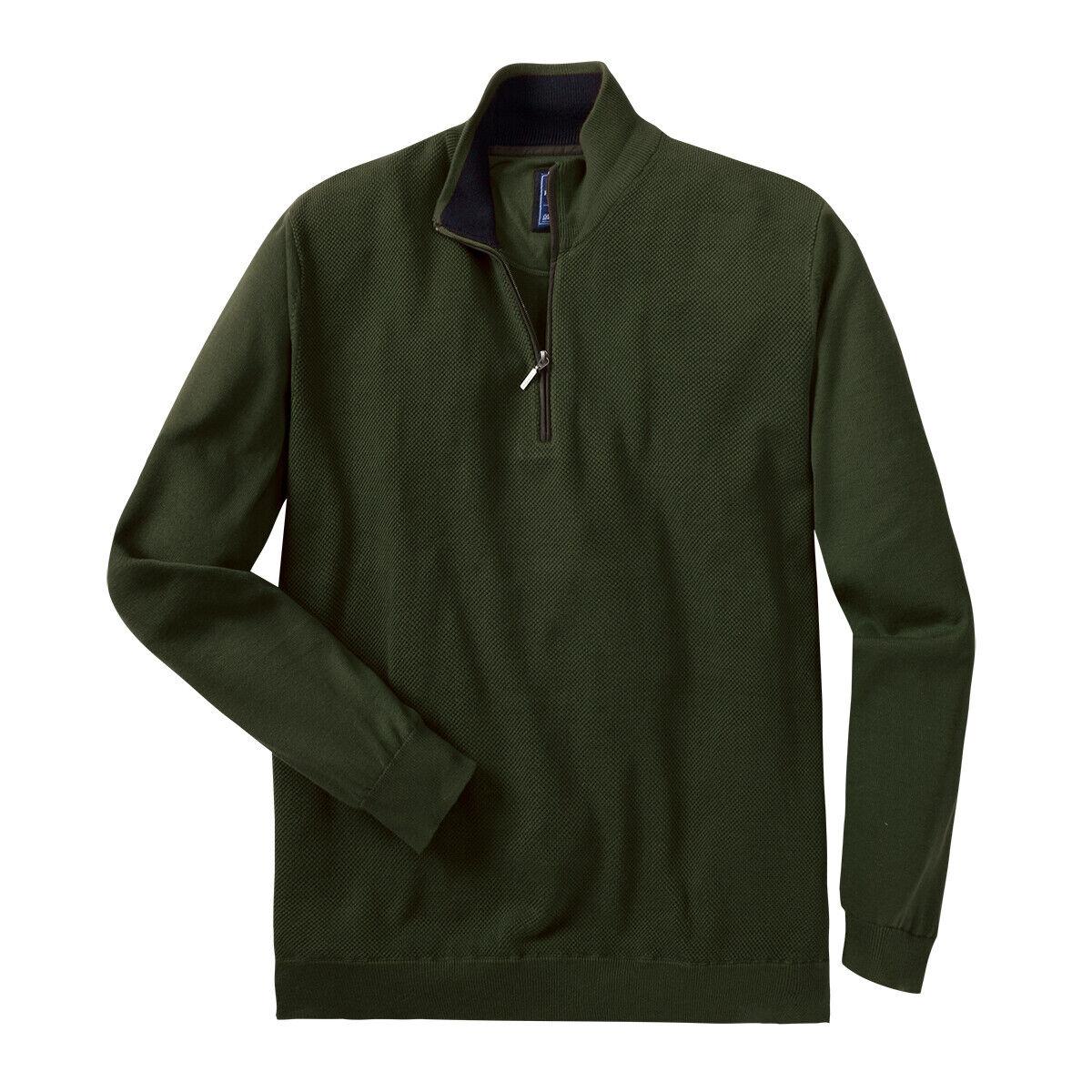 rojomond  punto XXL-Troyer con cremallera en verde oscuro  tienda en linea