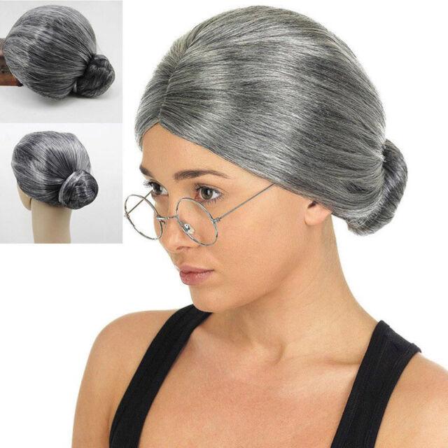 Grandma Silver Gray Old Lady Granny Costume Cosplay Women Wig Bun Fashion
