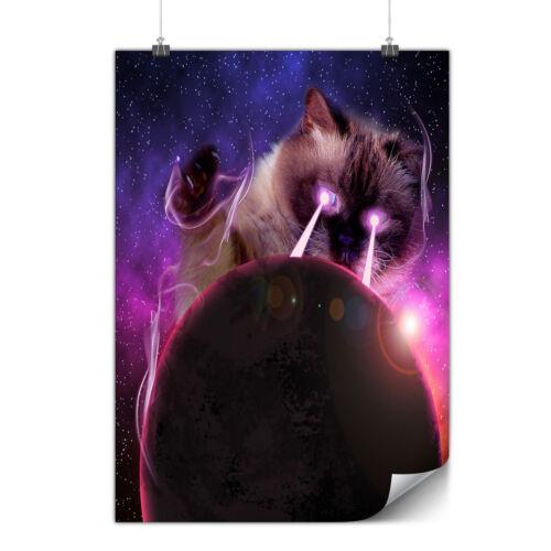 Space Cat Laser Eye Matte//Glossy PosterWellcoda