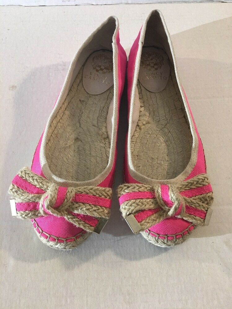 Vince Camuto Outer Donna Size 8 Flat Leather Lining PINK Outer Camuto Canvas Fabric shoes 7013e0