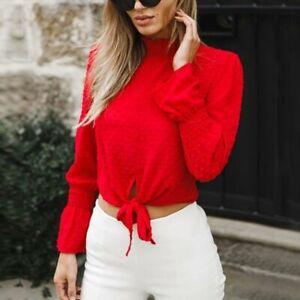 Floral-Blusa-de-Moda-Mangas-Largas-Informal-Camiseta-Camiseta-de-Gasa-de-Verano-para-Mujer-Nueva