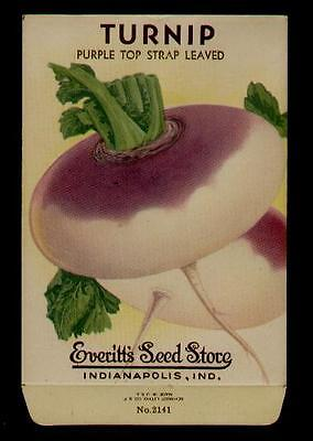 1940's TURNIP PURPLE STRAP LITHO SEED PACKET - EVERITT'S SEED, INDIANAPOLIS,IND