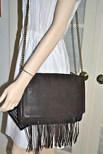 NWT $469 ABACO Paris Boho FRINGE Leather Messenger Bag Dark Brown
