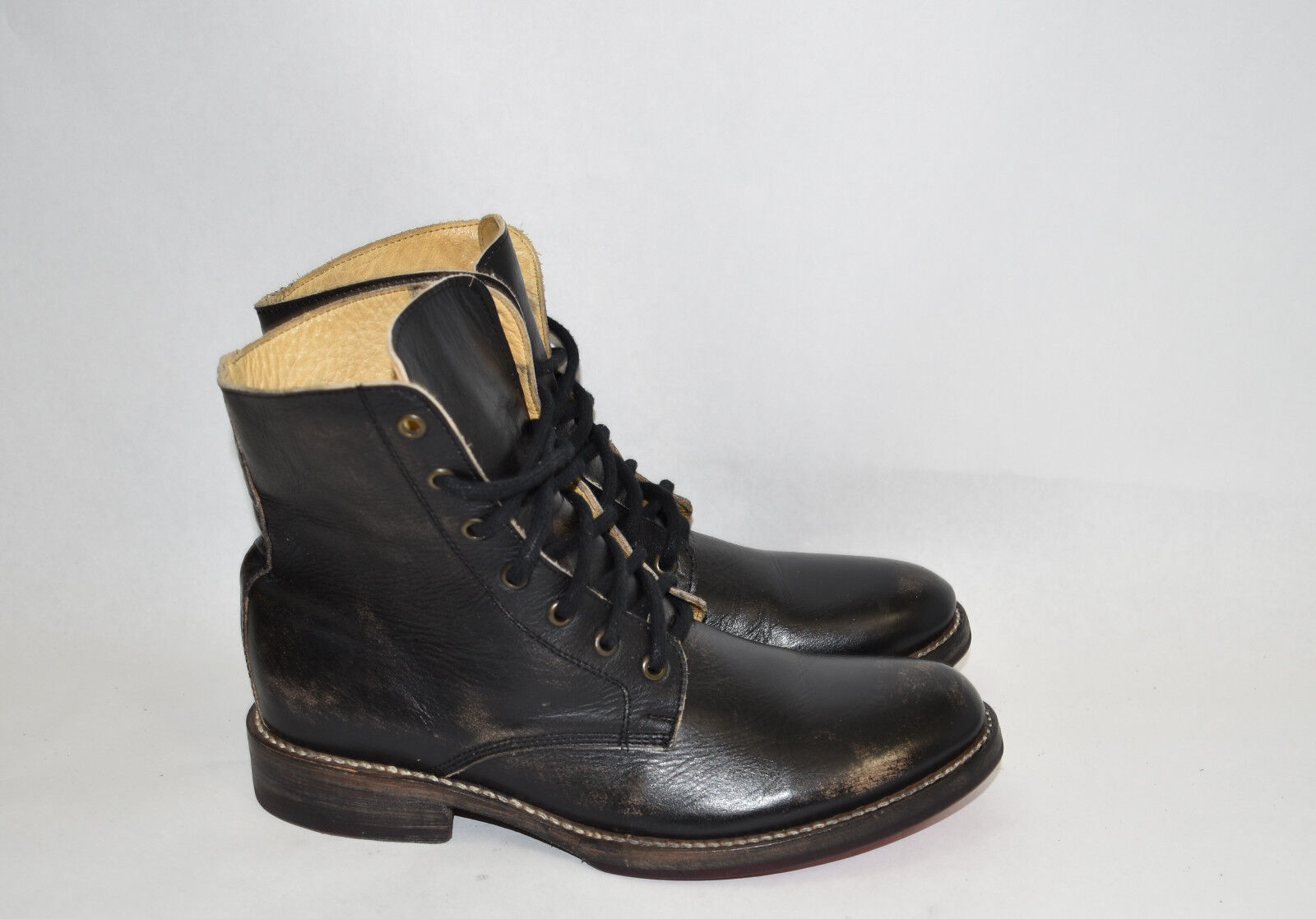 New  Bed Stu  Post  Men's nero Hand Washed Leather Ankle Combat stivali Dimensione 8.5