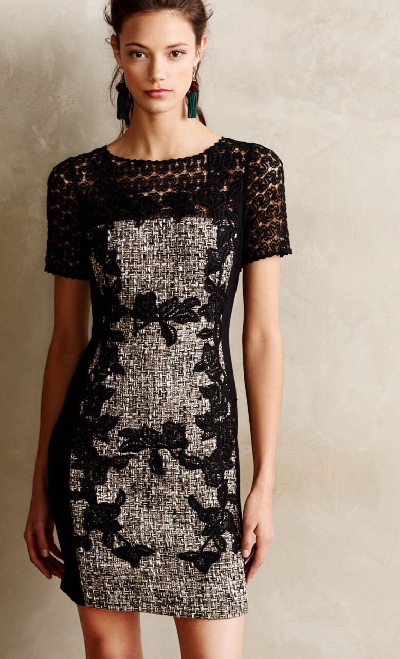 NEW Anthropologie Laced Boucle Sheath Dress Size 16