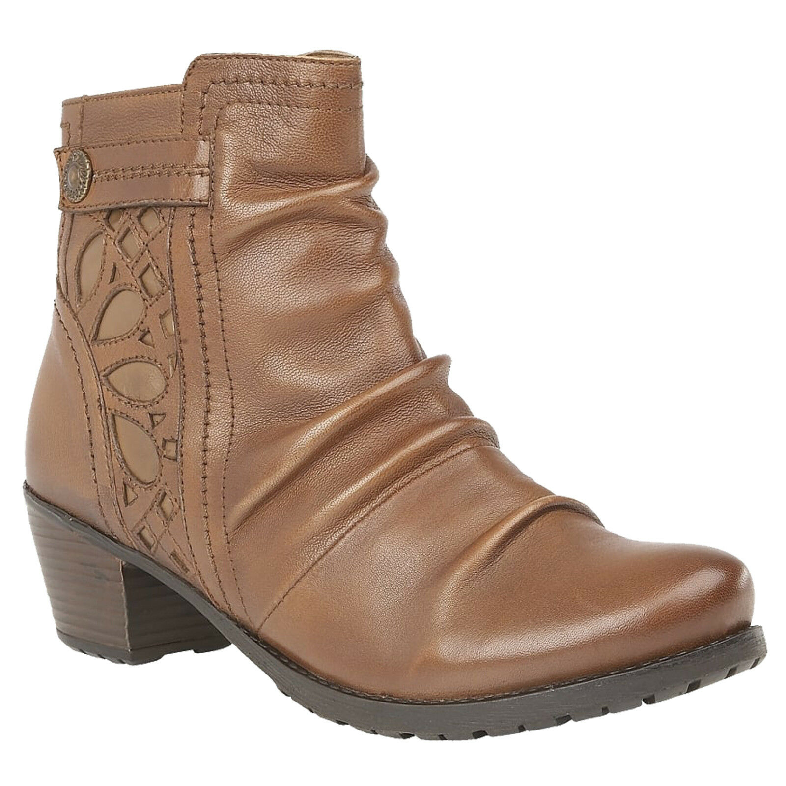 LADIES LOTUS LOTUS LOTUS MAPLES TAN LEATHER RUCHED ANKLE BOOTS b90200