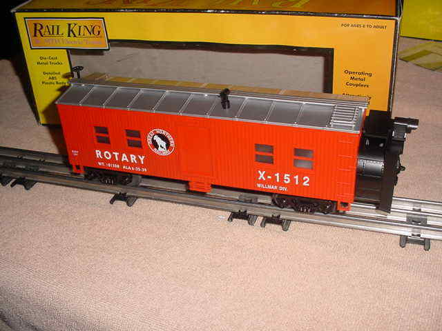 MTH RAIL KING OPERATING redARY SNOW PLOW X-1512 , GREAT NORTHERN     0-027