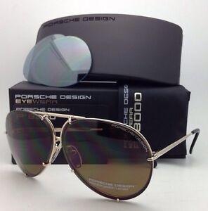d4852d5338f6 PORSCHE DESIGN Titanium Aviator Sunglasses P 8478 69-10 A-Gold with ...