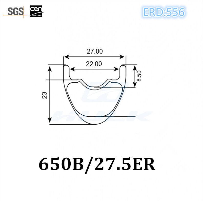 27.5er 650B 27mm width mtb carbon rim mountain bicycle rim tubeless compatible