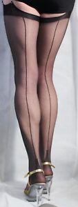FANTASTIQUE-10-deniers-ultra-sheer-noir-Talon-Cubain-Avec-Couture-Bas-Tailles-S-M-L-XL