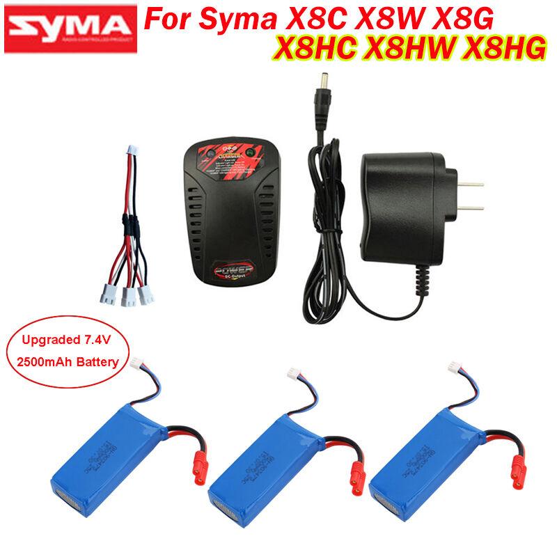 3pcs 7.4V 7.4V 7.4V 2500mAh Upgraded Battery+Charger For Syma X8C X8W X8G RC Quadcopter 117624