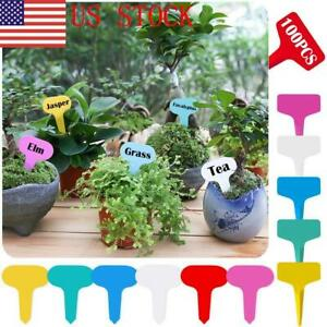 Details about US 100PCS Plastic Plant Tags T-Type Markers Nursery Garden  Labels Stakes Sign
