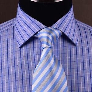 Blue Plaids & Checks Mens Dress Shirt Short Sleeve Business Casual Semi Formal