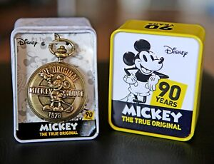 Disney Mickey Mouse 90th Anniversary Commemorative Pocket Watch Disneyana new