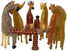 Hand Carved Wood African Animals Party - Set of Six elephant lion giraffe etc