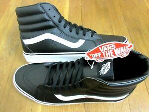 Vans-Womens-Sk8-Hi-Reissue-Classic-Tumble-Black-White-Leather-Shoes-Size-7-NWT