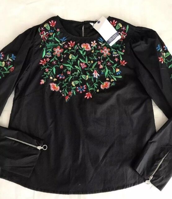 ZARA Blouse with Floral Embroidery /& Zips New Black Poplin Top Size XS S M L