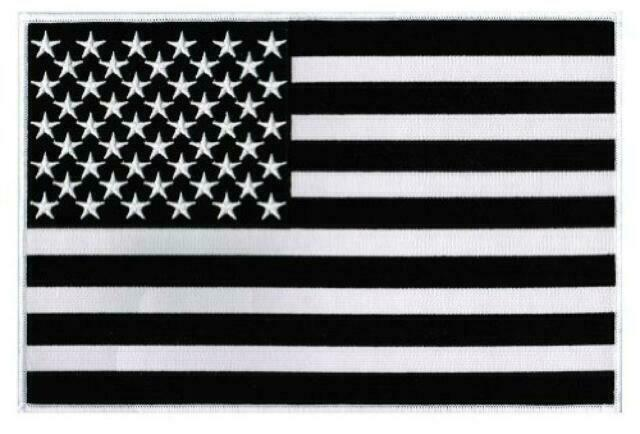LARGE 11-INCH US USA new BLACK /& WHITE AMERICAN FLAG EMBROIDERED IRON-ON PATCH