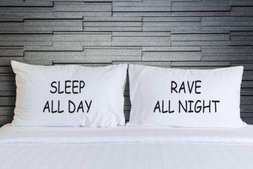 Taies d/'oreiller sleep all day rave toute la nuit teen chambre literie nouveauté WSD738